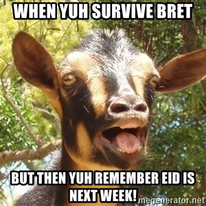 Illogical Goat - When yuh survive bret but then yuh remember eid is next week!