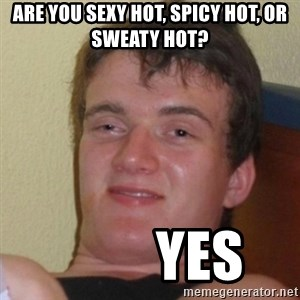 Really Stoned Guy - Are you sexy hot, spicy hot, or sweaty hot?          Yes
