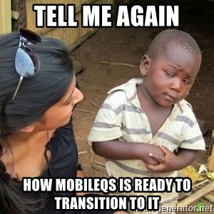 Skeptical 3rd World Kid - Tell me again How MobileQS is ready to transition to IT