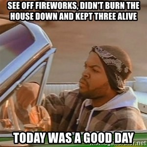 Good Day Ice Cube - see off fireworks, didn't burn the house down and kept three alive today was a good day