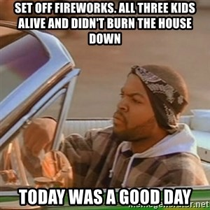 Good Day Ice Cube - set off fireworks. all three kids alive and didn't burn the house down today was a good day