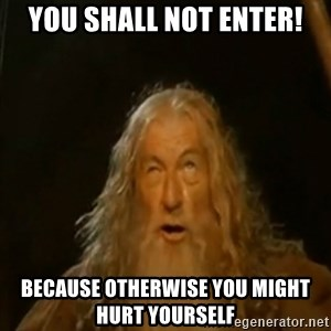 Gandalf You Shall Not Pass - you shall not enter! because otherwise you might hurt yourself