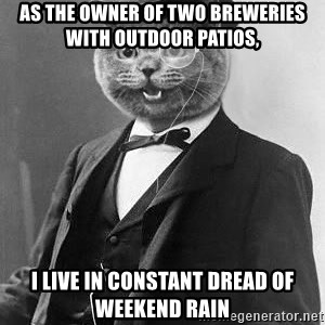 Monocle Cat - As the owner of two breweries with outdoor patios, I live in constant dread of weekend rain