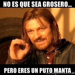 Does not simply walk into mordor Boromir  - no es que sea grosero... pero eres un puto manta