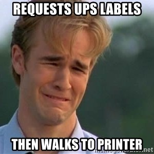 James Van Der Beek - Requests ups labels then walks to printer