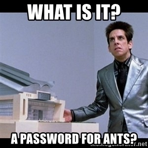 Zoolander for Ants - What is it? a password for ants?