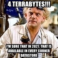Doc Back to the future - 4 Terrabytes!!! I'm sure that in 2027, that is available in every corner datastore