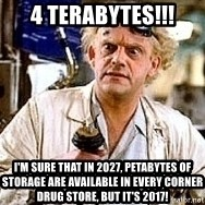 Doc Back to the future - 4 terabytes!!! i'm sure that in 2027, petabytes of storage are available in every corner drug store, but it's 2017!