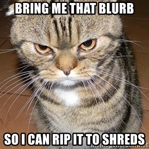 angry cat 2 - Bring me that Blurb So I can rip it to shreds