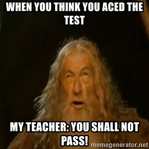 Gandalf You Shall Not Pass - When You think you aced the test my teacher: YOu shall not pass!