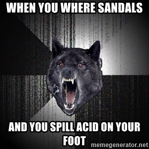 Insanity Wolf - When you where sandals  And you spill acid on your foot