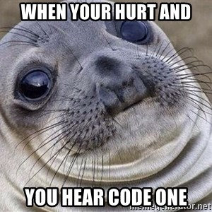 Awkward Moment Seal - When your hurt and  You hear code one