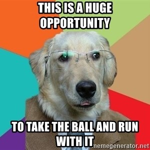 Business Dog - this is a huge opportunity  to take the ball and run with it