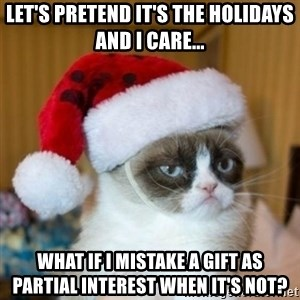 Grumpy Cat Santa Hat - let's pretend it's the holidays and I care... what if i mistake a gift as partial interest when it's not?