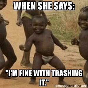 """Success African Kid - When she says: """"I'm fine with trashing it."""""""