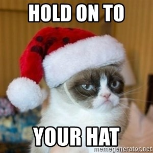 Grumpy Cat Santa Hat - Hold on to  your hat