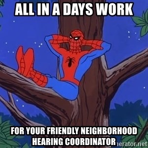 Spiderman Tree - All in a days work for your friendly neighborhood hearing coordinator