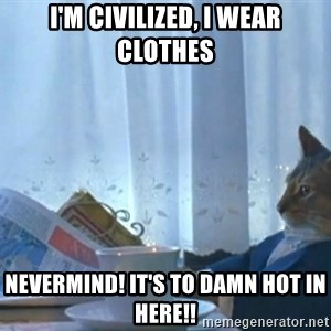 Sophisticated Cat - I'm civilized, i wear clothes Nevermind! it's to damn hot in here!!