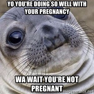 Awkward Moment Seal - Yo you're doing so well with your pregnancy  Wa wait you're not pregnant