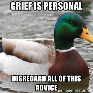 Actual Advice Mallard 1 - grief is personal disregard all of this advice