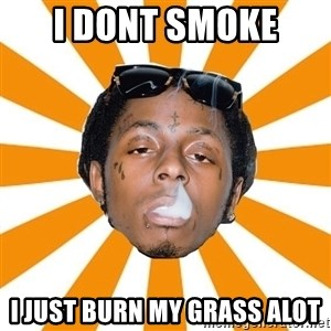 Lil Wayne Meme - i dont smoke  i just burn my grass alot