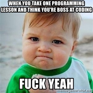 victory kid - When you take one programming lesson and think you're boss at coding Fuck yeah