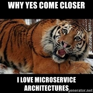 Sarcasm Tiger - WHY Yes COME CLOSER I LOVE MICROSERVICE ARCHITECTURES