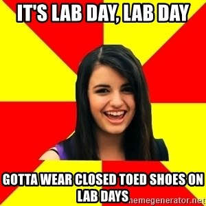 Rebecca Black Meme - it's lab day, lab day gotta wear closed toed shoes on lab days