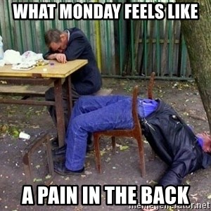 drunk - What mOnday feels like A pain in the back