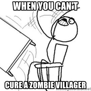 Flip table meme - When you can't Cure a zombie villager