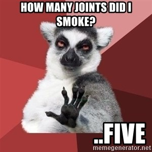 mindenki nyugodjon le a picsába - how many joints did i smoke?                    ..five