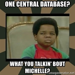 What you talkin' bout Willis  - One central database? What you talkin' bout michelle?