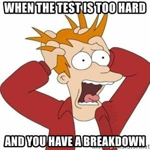 Fry Panic - when the test is too hard and you have a breakdown