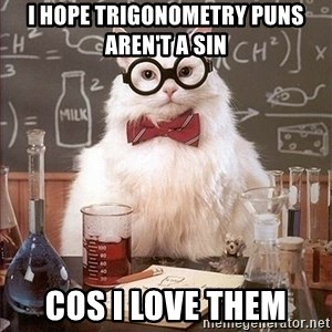 Science Cat - I hope trigonometry puns aren't a sin cos I love them