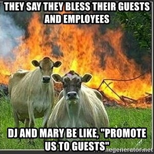 """Evil Cows - They say they BLess their guests and employees Dj and Mary Be like, """"promote us to guests"""""""