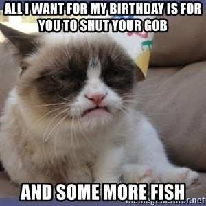 Birthday Grumpy Cat - All i want for my birthday is for you to shut your gob  And some more fish
