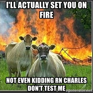 Evil Cows - I'LL ACTUALLY SET YOU ON FIRE not even kidding rn CHarles don't test me