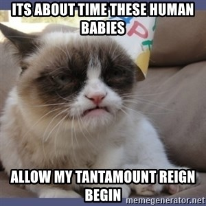 Birthday Grumpy Cat - its about time these human babies  allow my tantamount reign begin