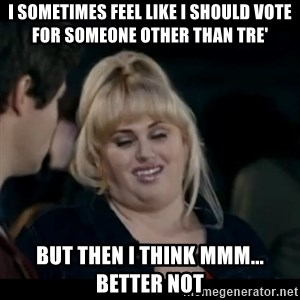 Better Not - I sometimes feel like I should vote for someone other than TRE' But then I think mmm... Better not
