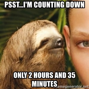 Whispering sloth - Psst...I'm counting down Only 2 hours and 35 Minutes