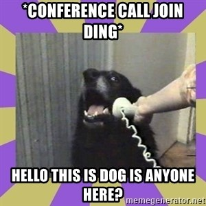 Yes, this is dog! - *Conference call join ding* Hello this is dog is anyone here?