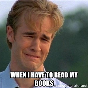 Crying Man - When i have to read my books