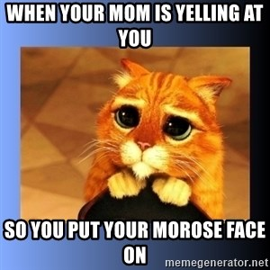 puss in boots eyes 2 - when your mom is yelling at you so you put your morose face on