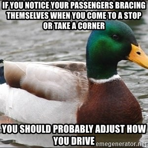 Actual Advice Mallard 1 - If you notice your passengers bracing themselves when you come to a stop or take a corner you should probably adjust how you drive