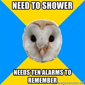 Bipolar Owl - Need to shower Needs Ten alarms to remember
