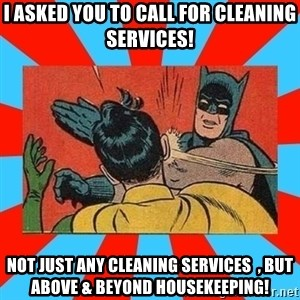 Batman Bitchslap - i asked you to call for cleaning services! Not just any cleaning services  , but Above & beyond housekeeping!