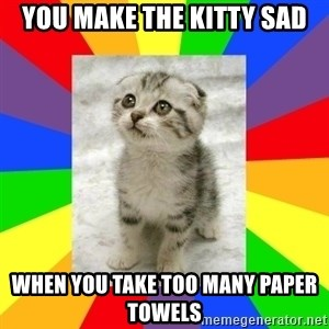 Cute Kitten - YOu make the kitty sad when you take too many paper towels