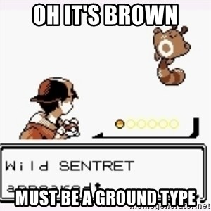a wild pokemon appeared - Oh it's brown must be a ground type