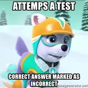 Bad Luck Everest  - Attemps a tesT Correct ansWer mArkeD as incorreCt