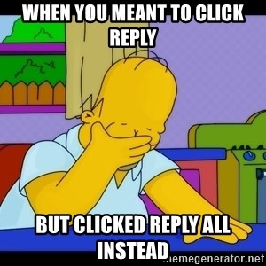 Homer Facepalm - When you meant to click reply but clicked reply all instead